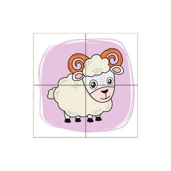 Houten blokpuzzel boerderijdieren (3)