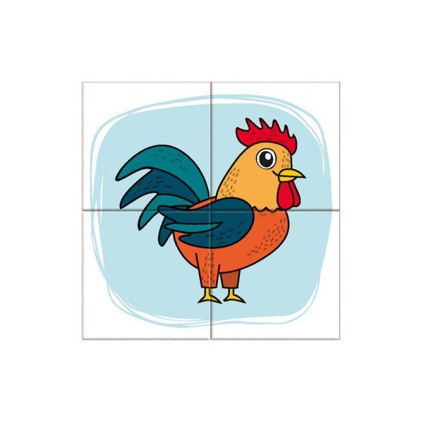 Houten blokpuzzel boerderijdieren (5)