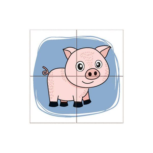 Houten blokpuzzel boerderijdieren (9)