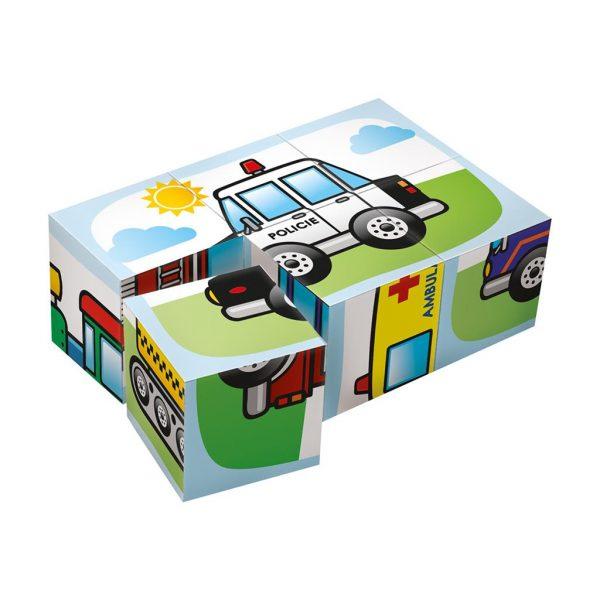 Houten blokpuzzel voertuigen (3)